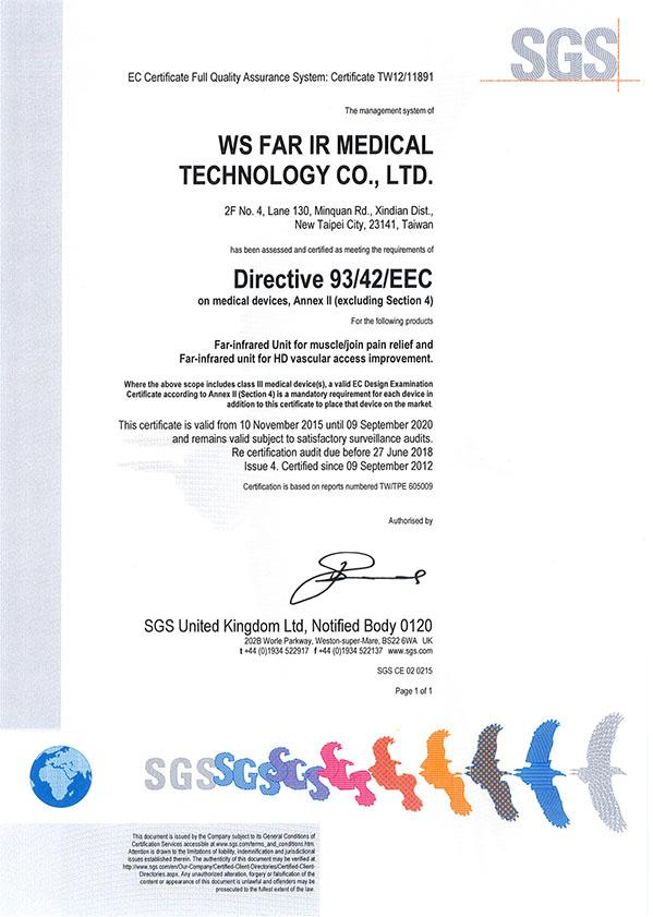 寬譜遠紅外線通過歐盟CE認證:可用於改善血管通路的功能